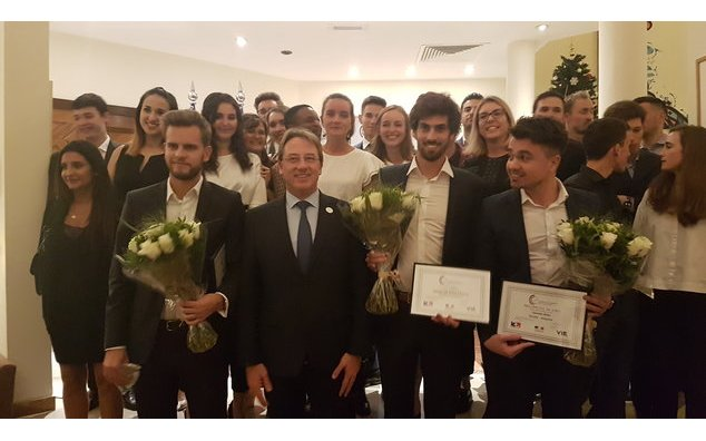 The Ambassador of France to the United Arab Emirates, Mr. Ludovic Pouille, along with the young professionals